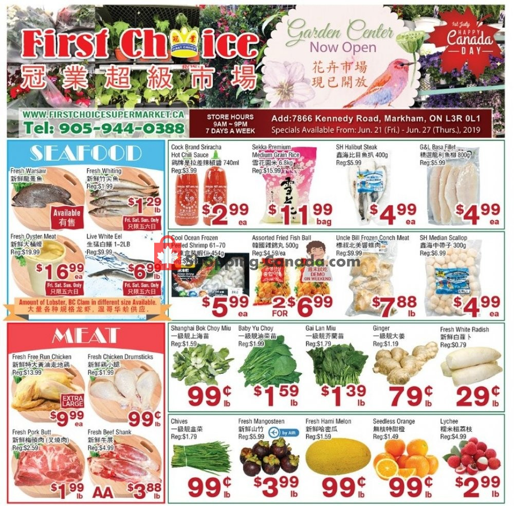 Flyer First Choice Supermarket Canada - from Friday June 21, 2019 to Thursday June 27, 2019