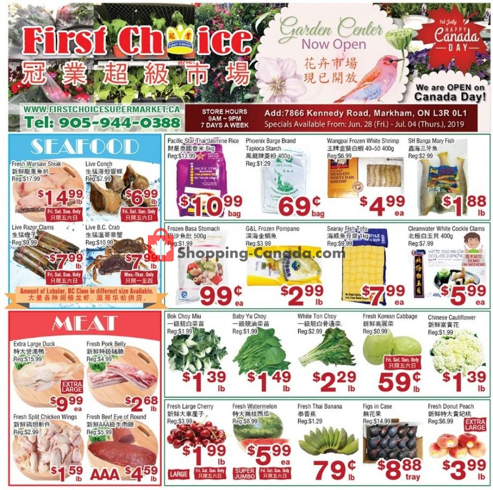 Flyer First Choice Supermarket Canada - from Friday June 28, 2019 to Thursday July 4, 2019