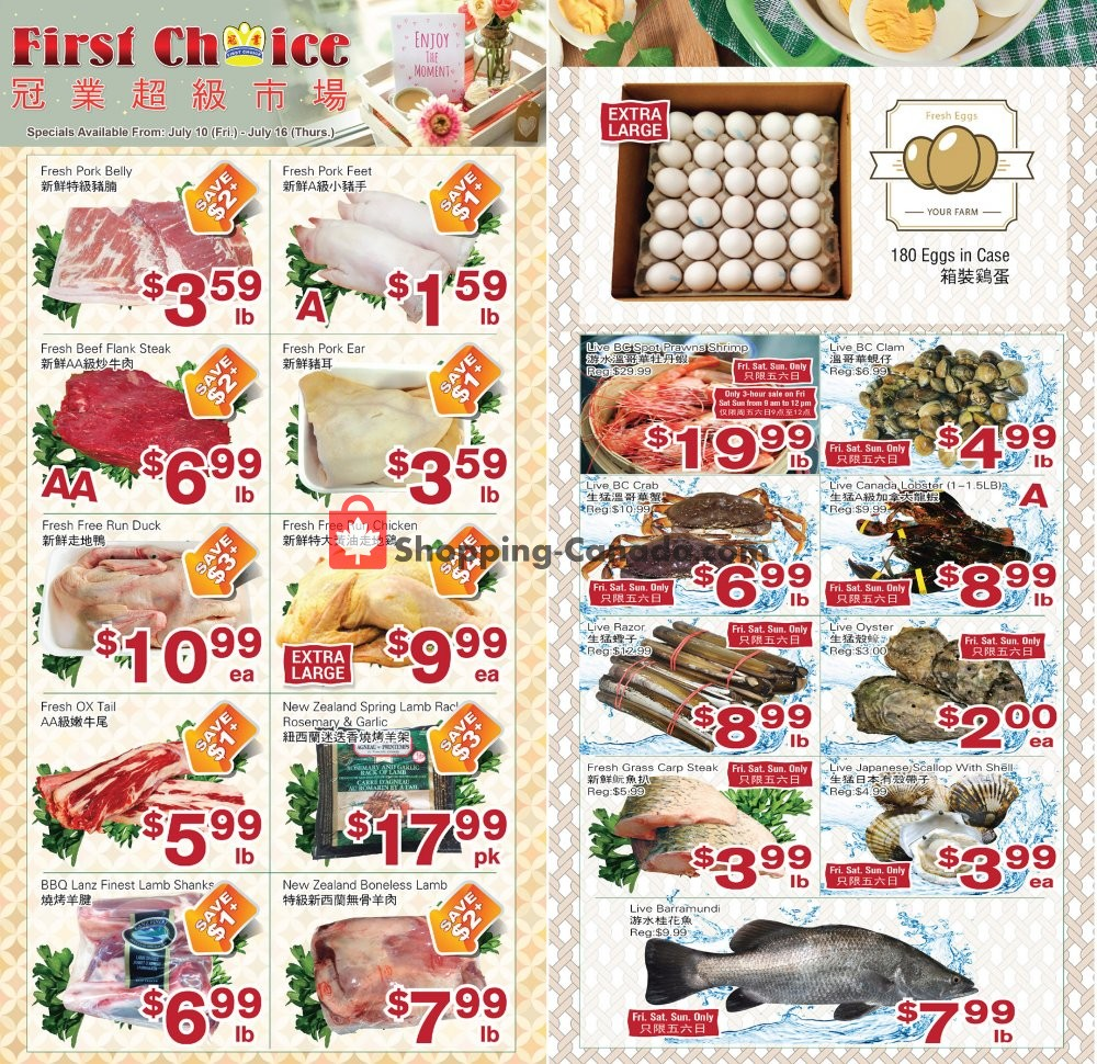 Flyer First Choice Supermarket Canada - from Friday July 10, 2020 to Thursday July 16, 2020