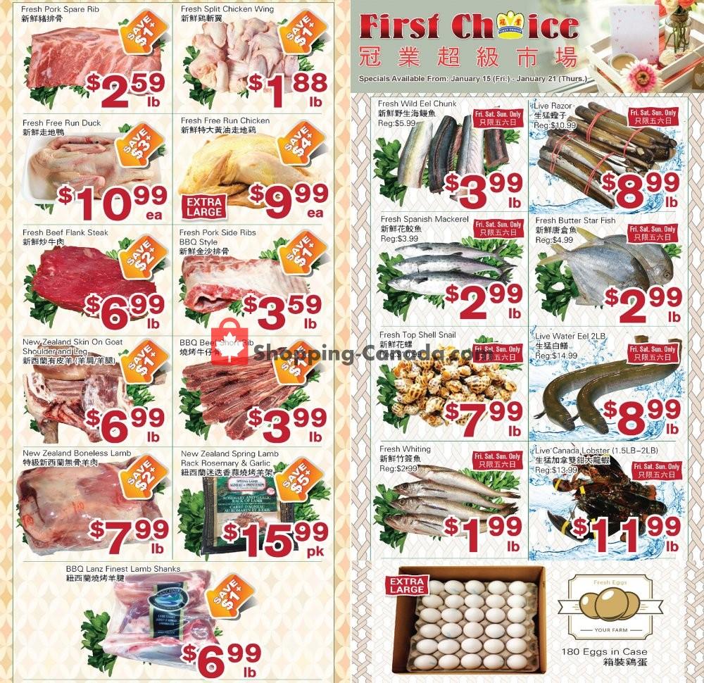 Flyer First Choice Supermarket Canada - from Friday January 15, 2021 to Thursday January 21, 2021