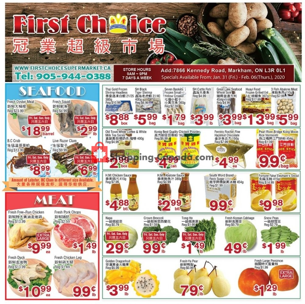 Flyer First Choice Supermarket Canada - from Friday January 31, 2020 to Thursday February 6, 2020