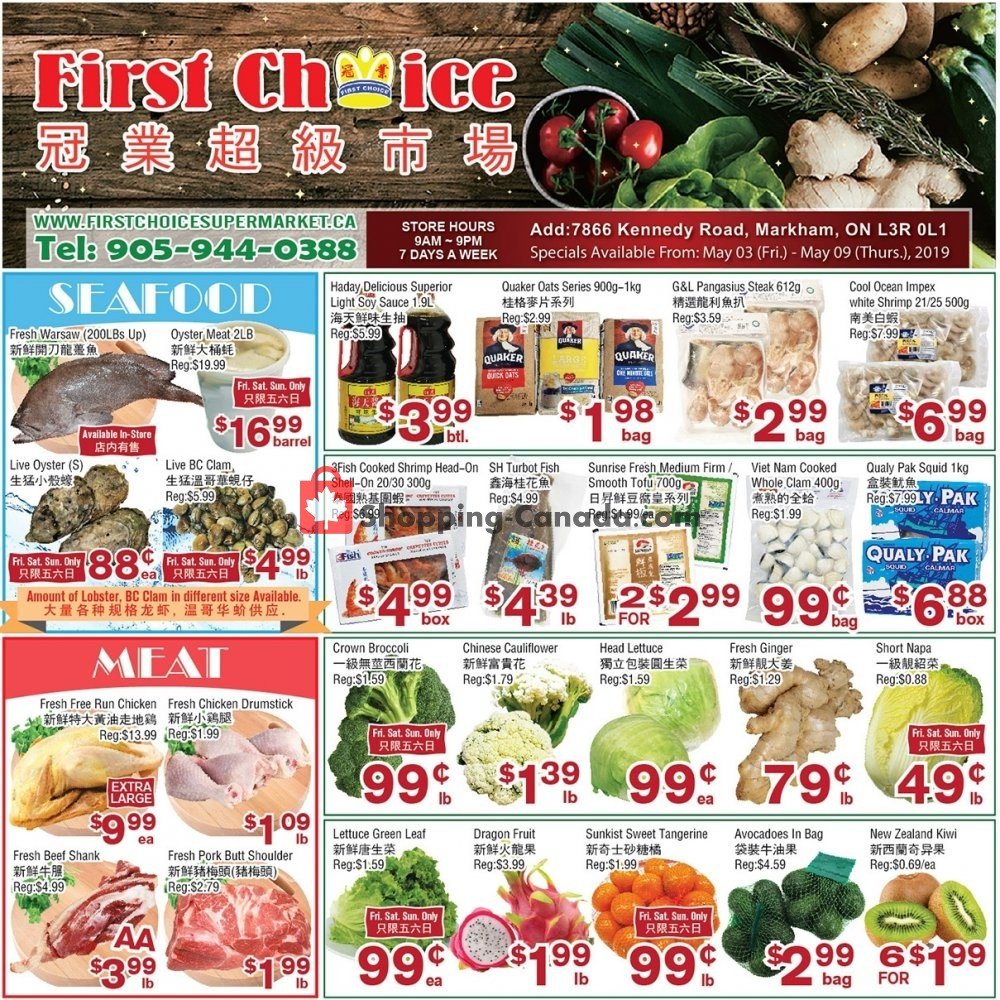 Flyer First Choice Supermarket Canada - from Friday May 3, 2019 to Thursday May 9, 2019