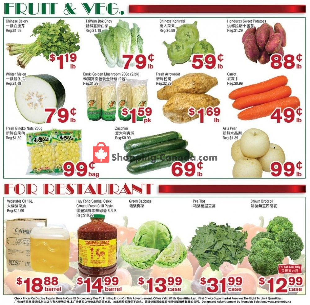 Flyer First Choice Supermarket Canada - from Friday November 8, 2019 to Thursday November 14, 2019