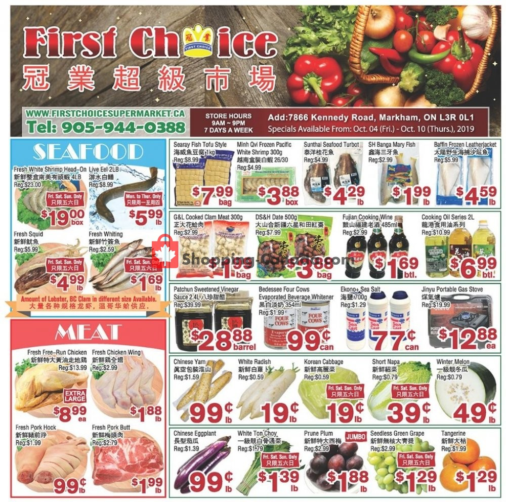 Flyer First Choice Supermarket Canada - from Friday October 4, 2019 to Thursday October 10, 2019