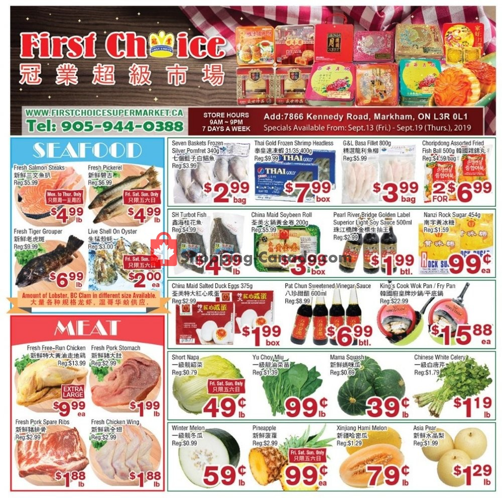 Flyer First Choice Supermarket Canada - from Friday September 13, 2019 to Thursday September 19, 2019