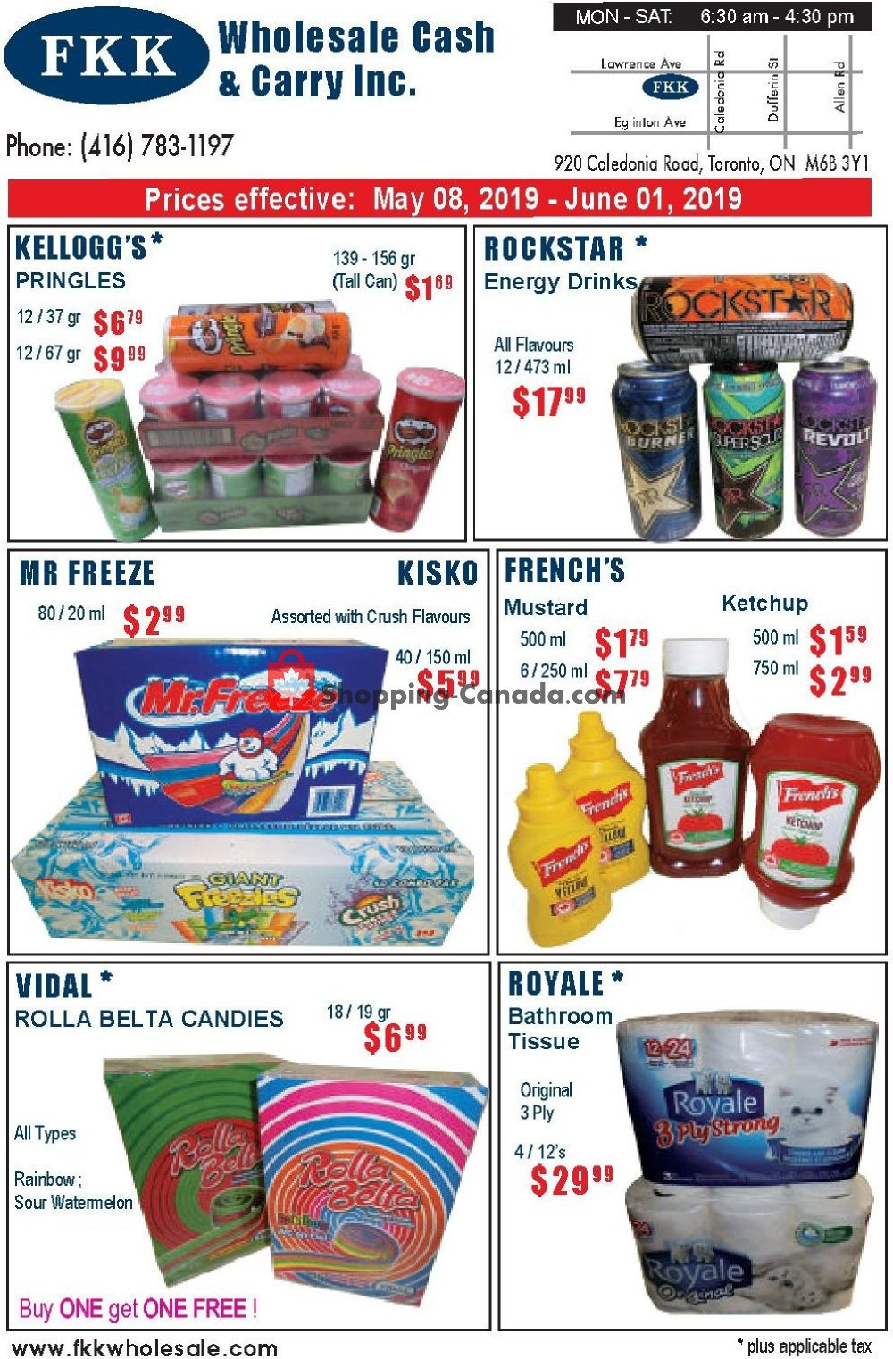 Flyer FKK Wholesale Cash & Carry Canada - from Wednesday May 8, 2019 to Saturday June 1, 2019