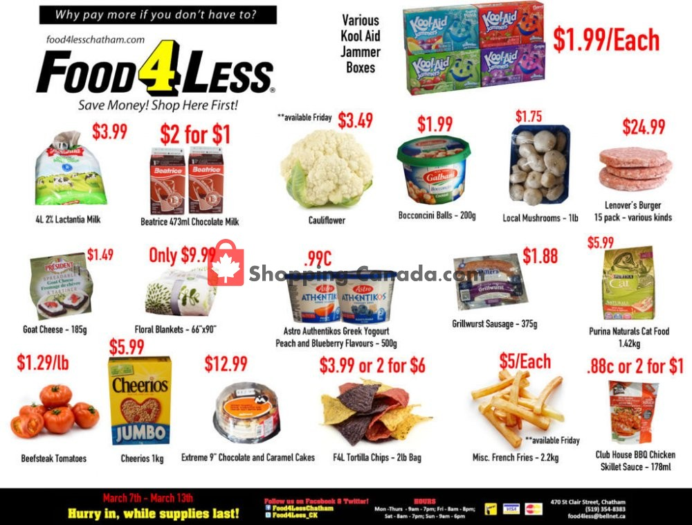Flyer Food 4 Less Canada - from Thursday March 7, 2019 to Wednesday March 13, 2019