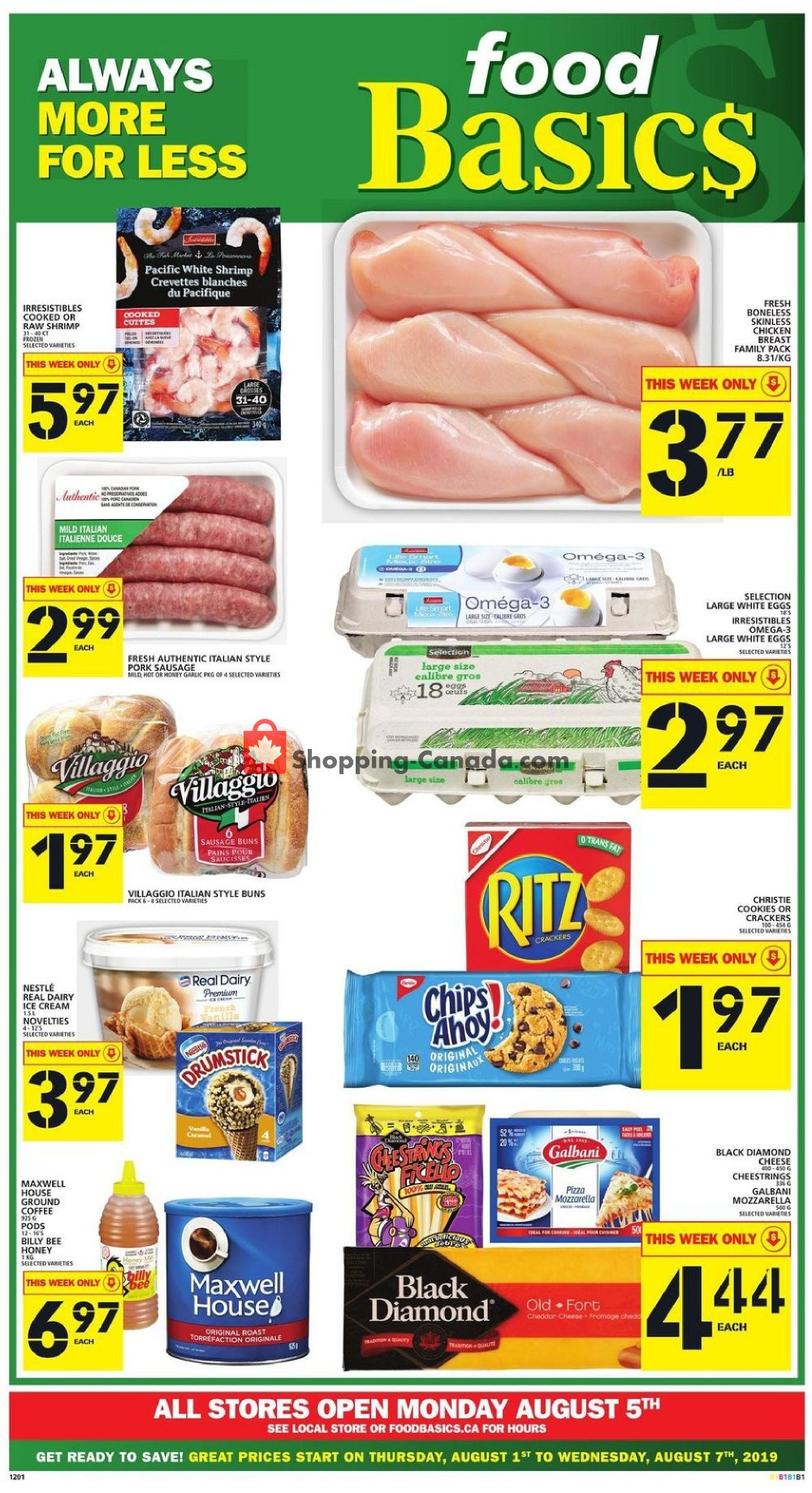 Flyer Food Basics Canada - from Thursday August 1, 2019 to Wednesday August 7, 2019