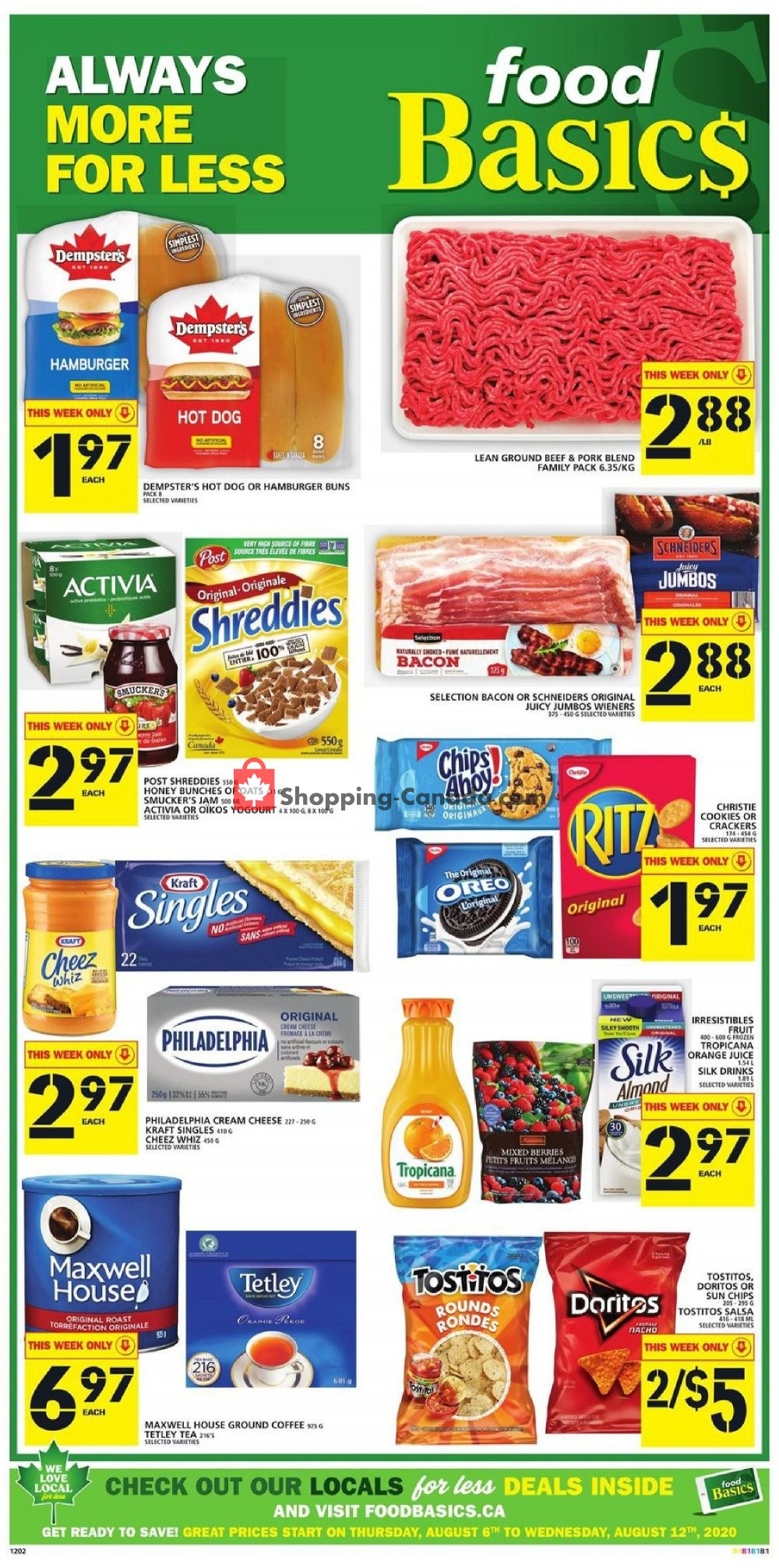 Flyer Food Basics Canada - from Thursday August 6, 2020 to Wednesday August 12, 2020