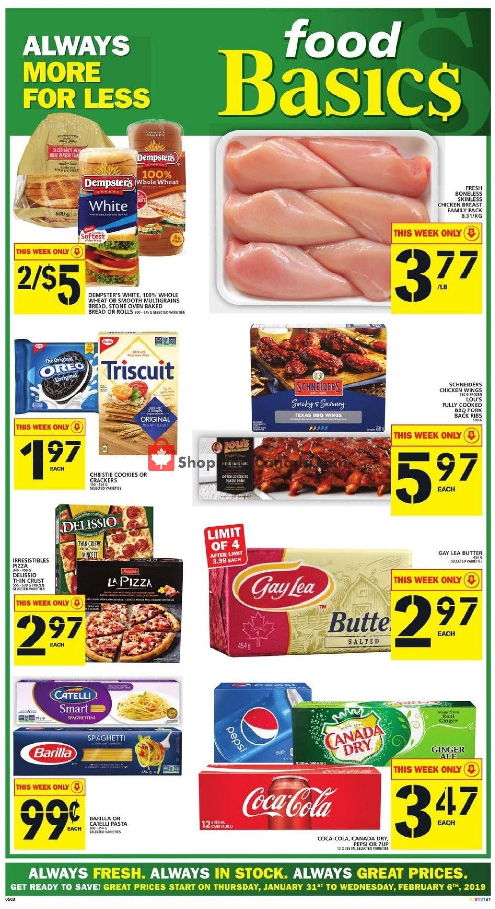 Flyer Food Basics Canada - from Thursday January 31, 2019 to Wednesday February 6, 2019