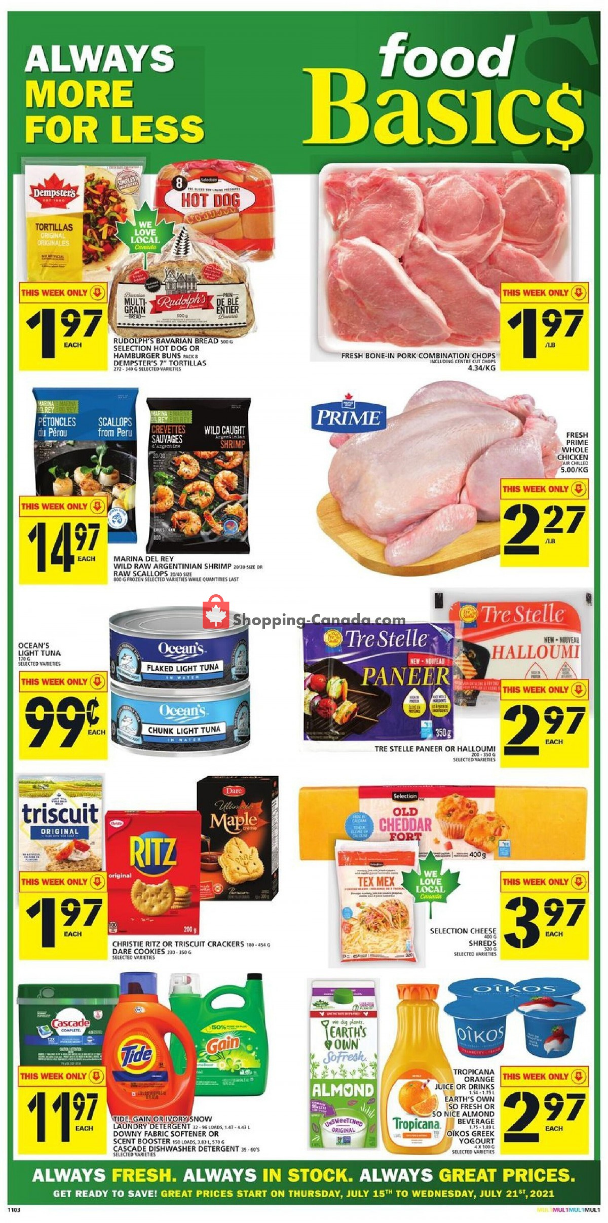 Flyer Food Basics Canada - from Thursday July 15, 2021 to Wednesday July 21, 2021