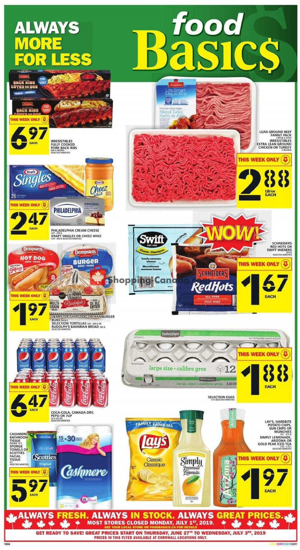 Flyer Food Basics Canada - from Thursday June 27, 2019 to Wednesday July 3, 2019