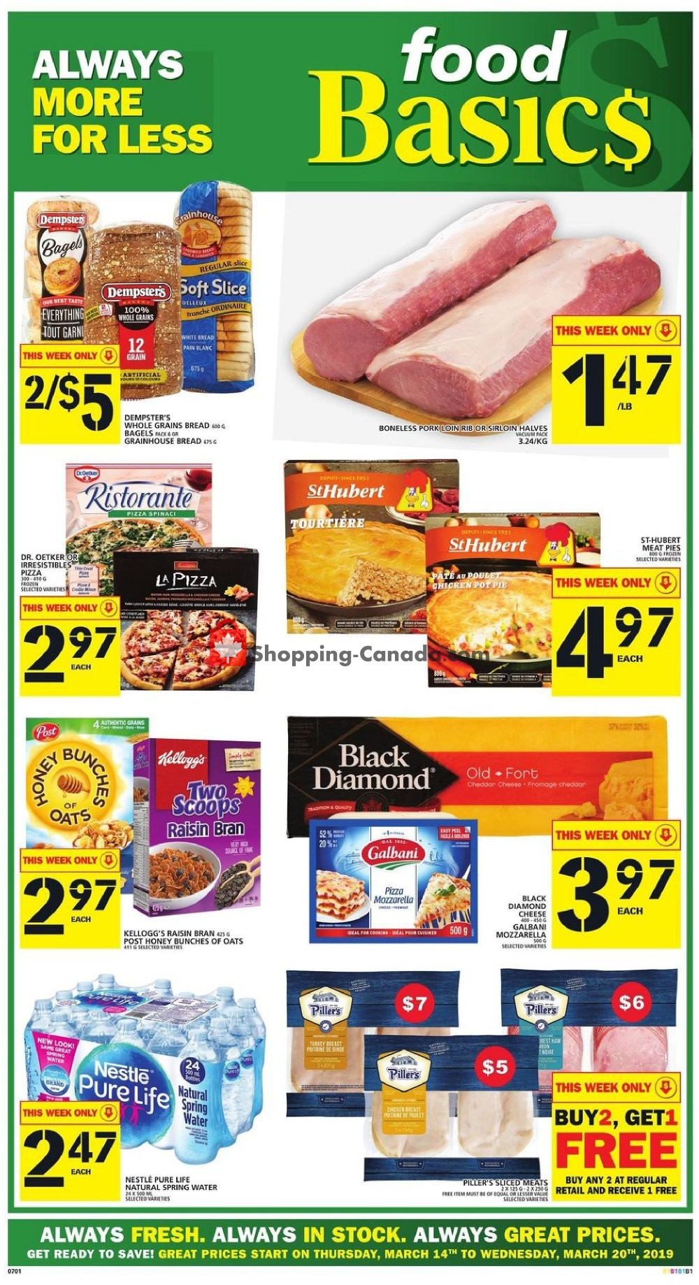 Flyer Food Basics Canada - from Thursday March 14, 2019 to Wednesday March 20, 2019