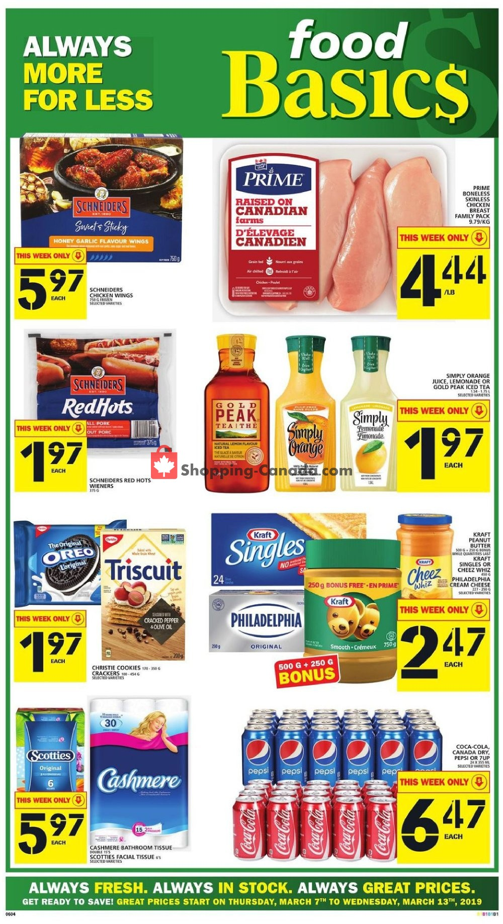 Flyer Food Basics Canada - from Thursday March 7, 2019 to Wednesday March 13, 2019