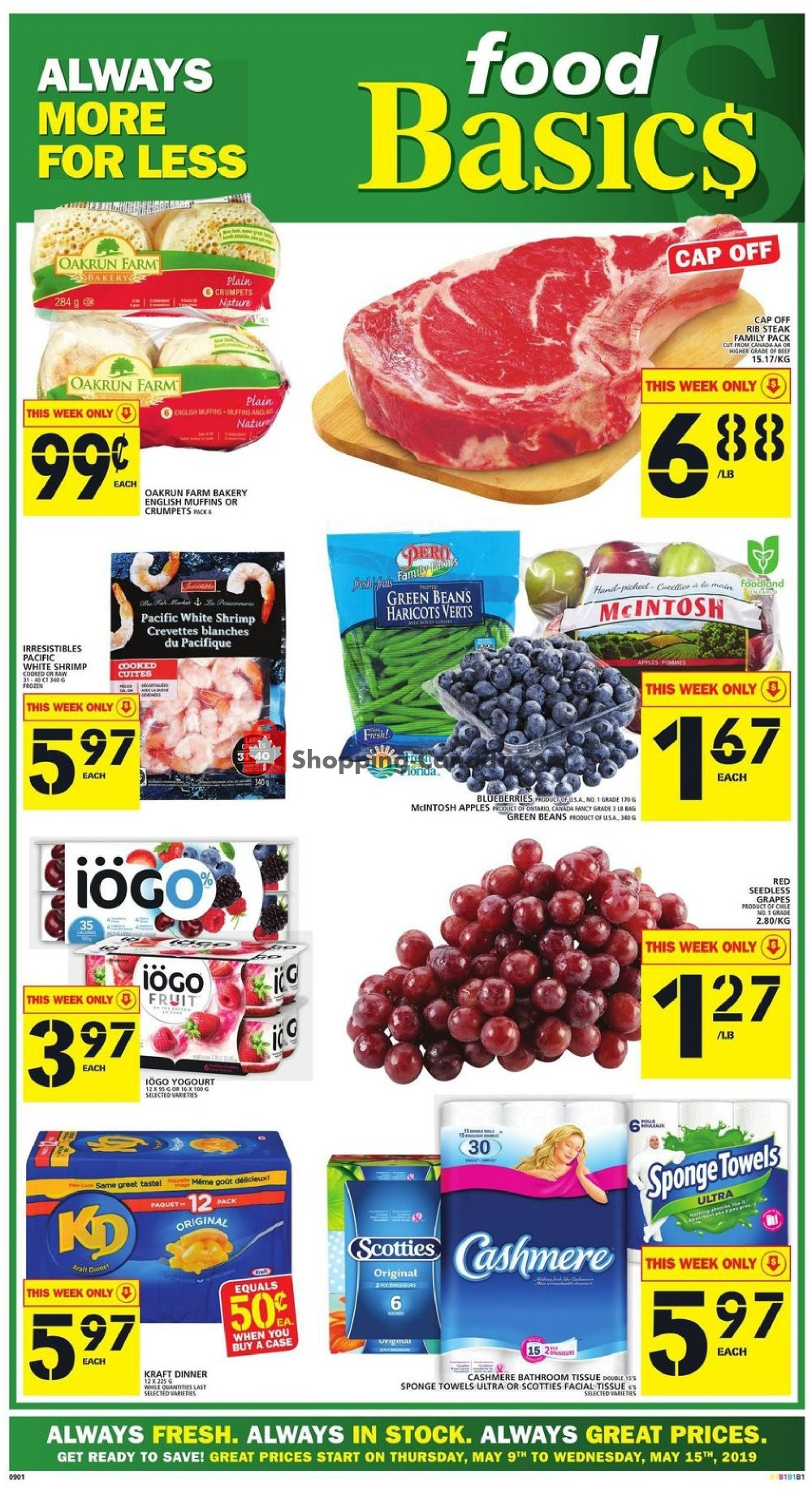 Flyer Food Basics Canada - from Thursday May 9, 2019 to Wednesday May 15, 2019