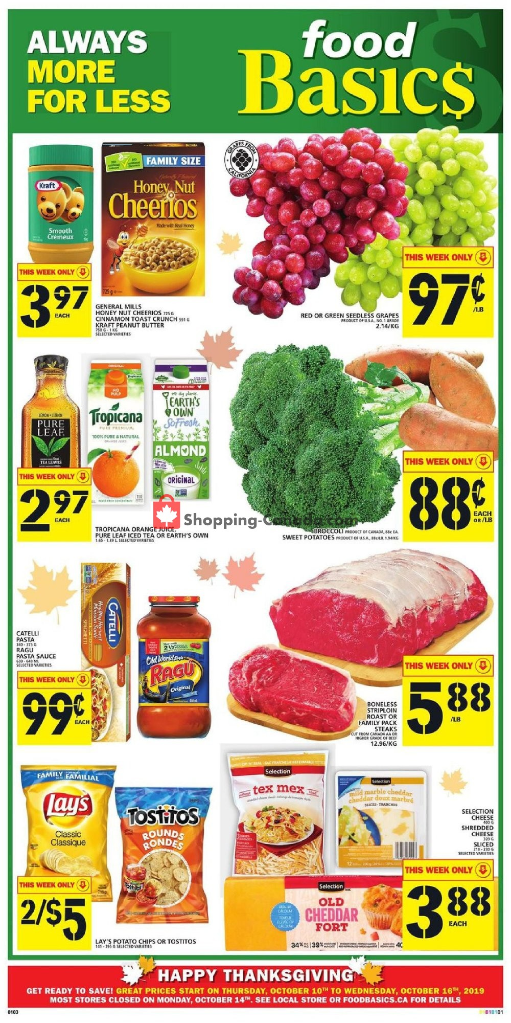 Flyer Food Basics Canada - from Thursday October 10, 2019 to Wednesday October 16, 2019