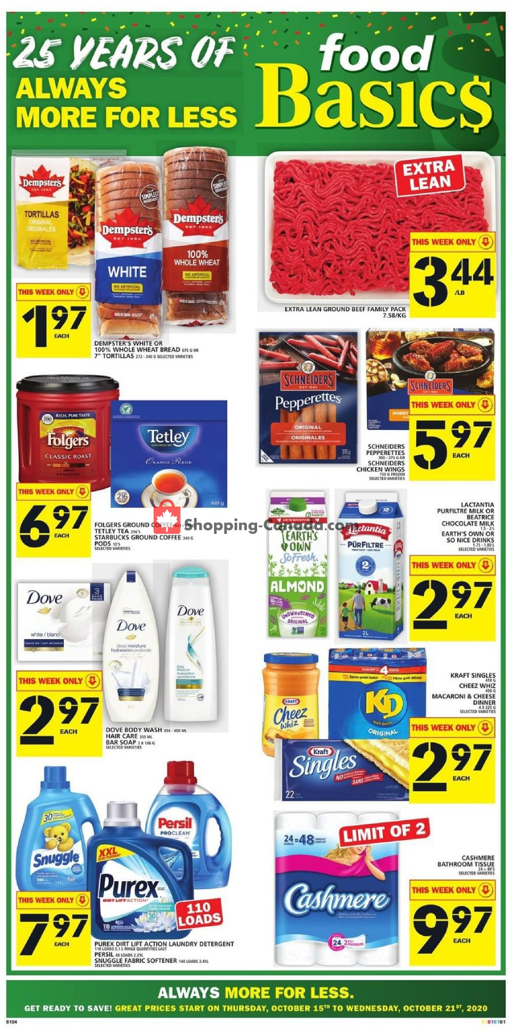 Flyer Food Basics Canada - from Thursday October 15, 2020 to Wednesday October 21, 2020