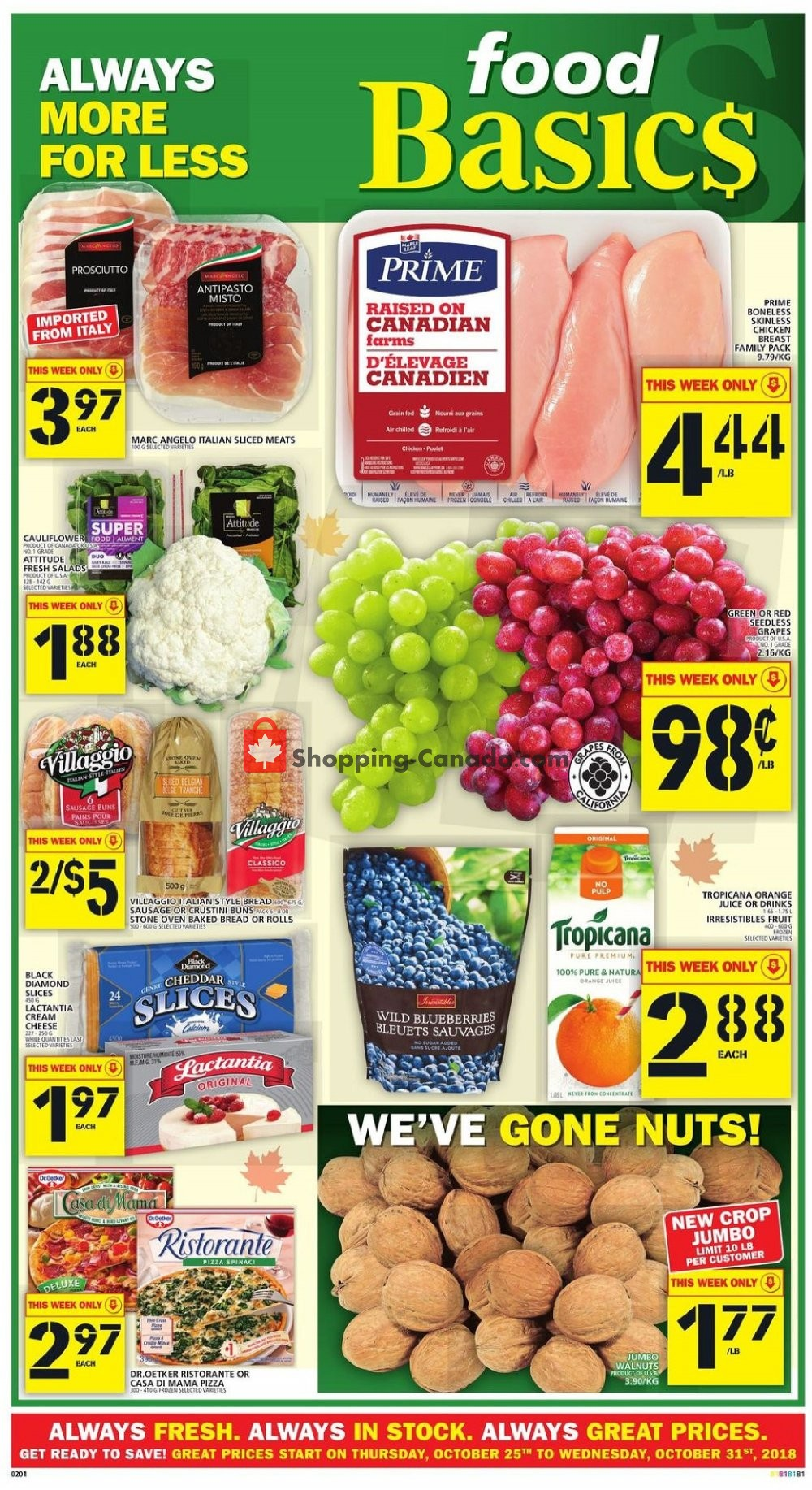 Flyer Food Basics Canada - from Thursday October 25, 2018 to Wednesday October 31, 2018