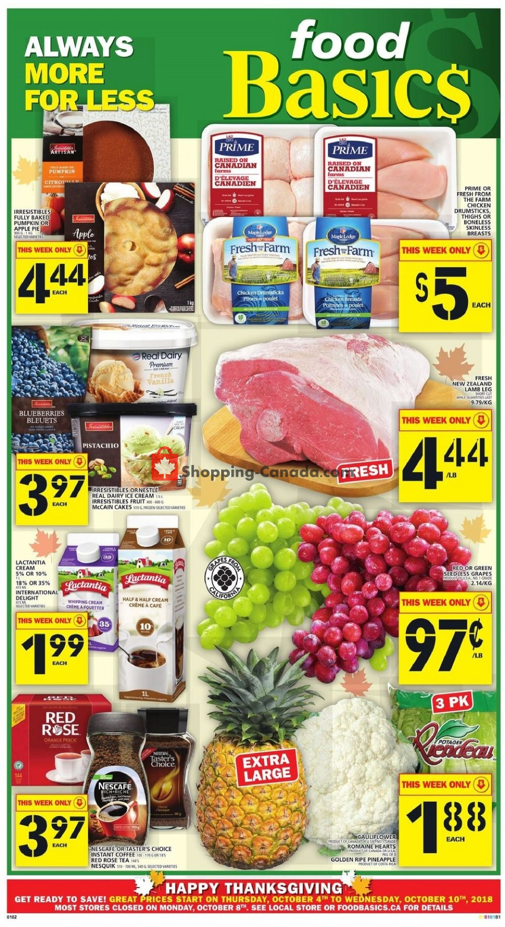 Flyer Food Basics Canada - from Thursday October 4, 2018 to Wednesday October 10, 2018