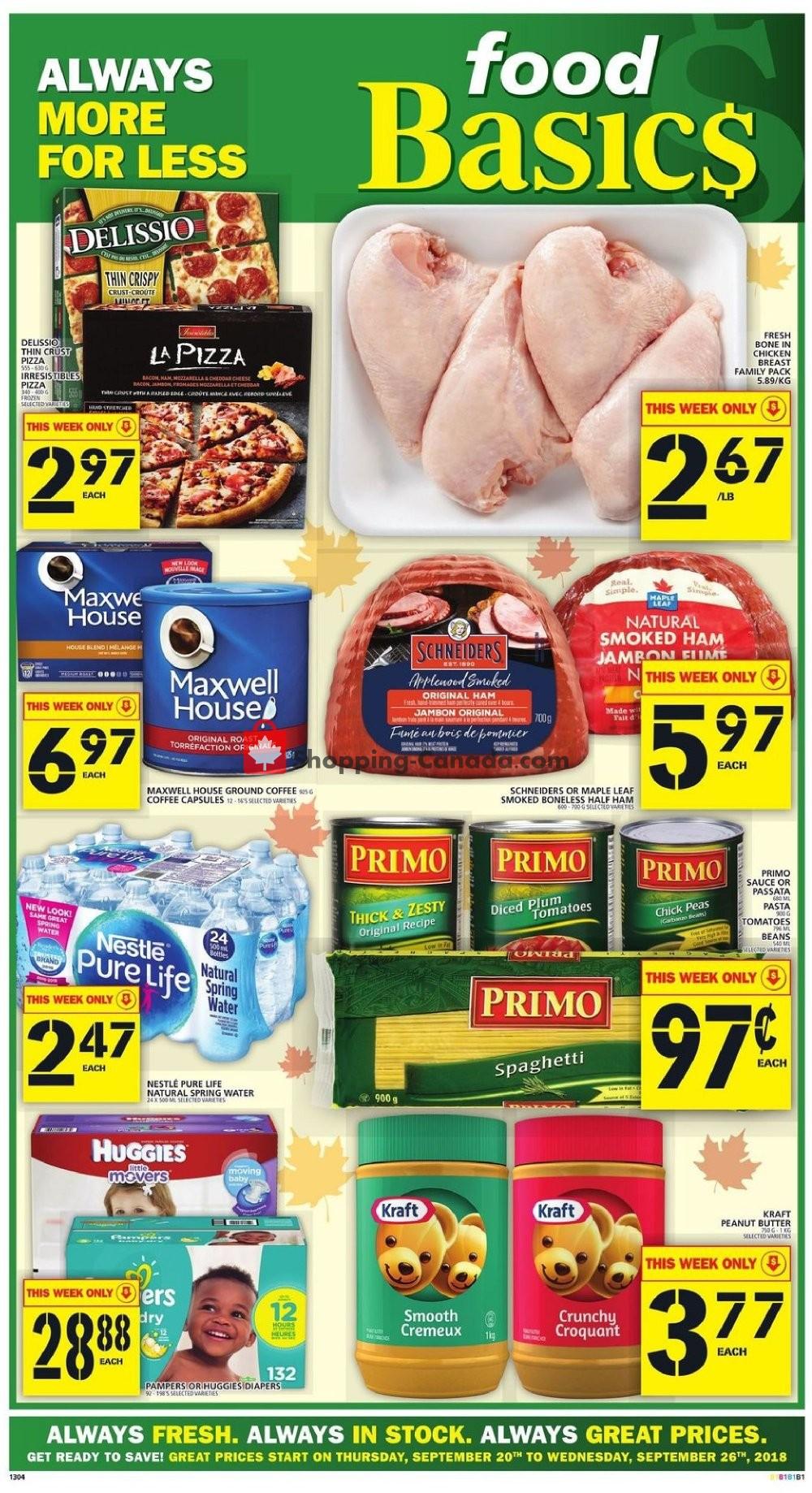 Flyer Food Basics Canada - from Thursday September 20, 2018 to Wednesday September 26, 2018