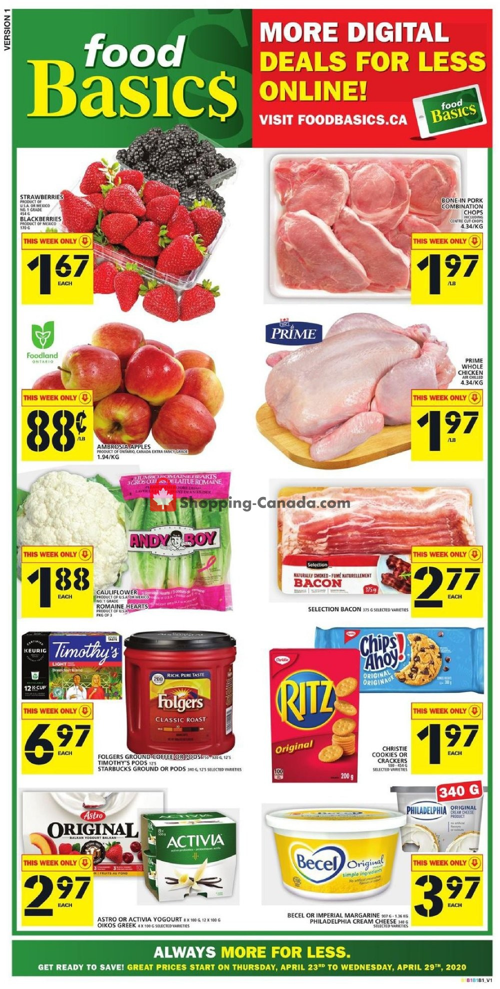 Flyer Food Basics Canada - from Thursday April 23, 2020 to Wednesday April 29, 2020