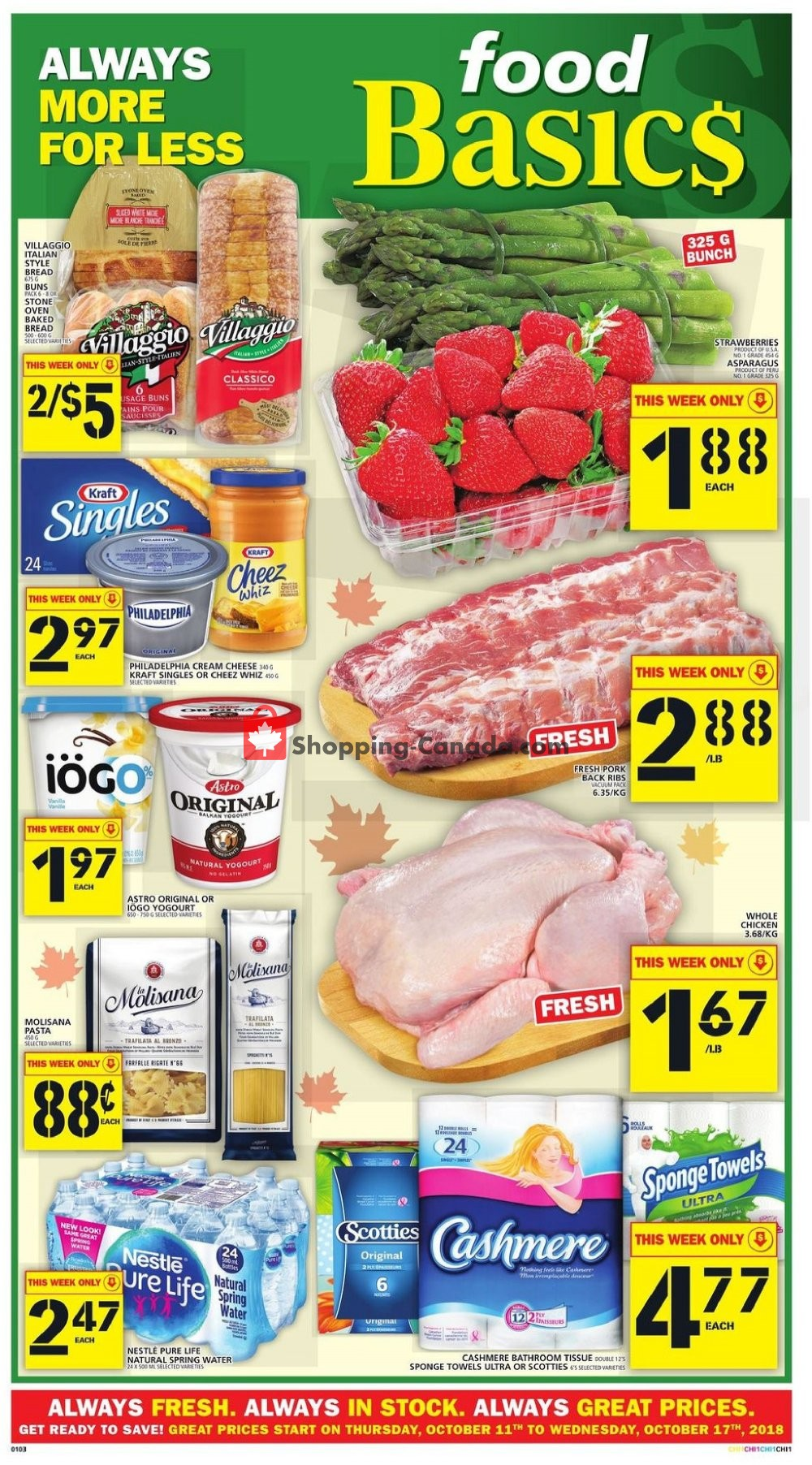 Flyer Food Basics Canada - from Thursday October 11, 2018 to Wednesday October 17, 2018
