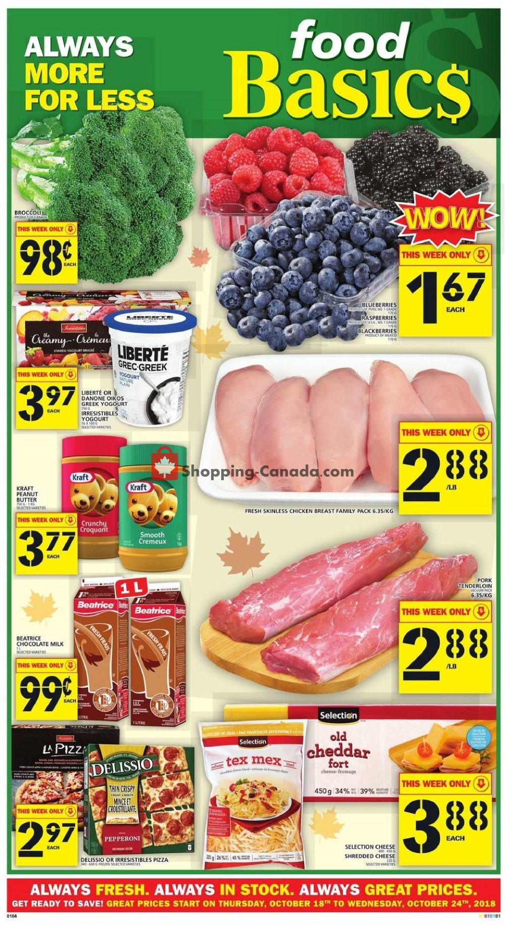 Flyer Food Basics Canada - from Thursday October 18, 2018 to Wednesday October 24, 2018