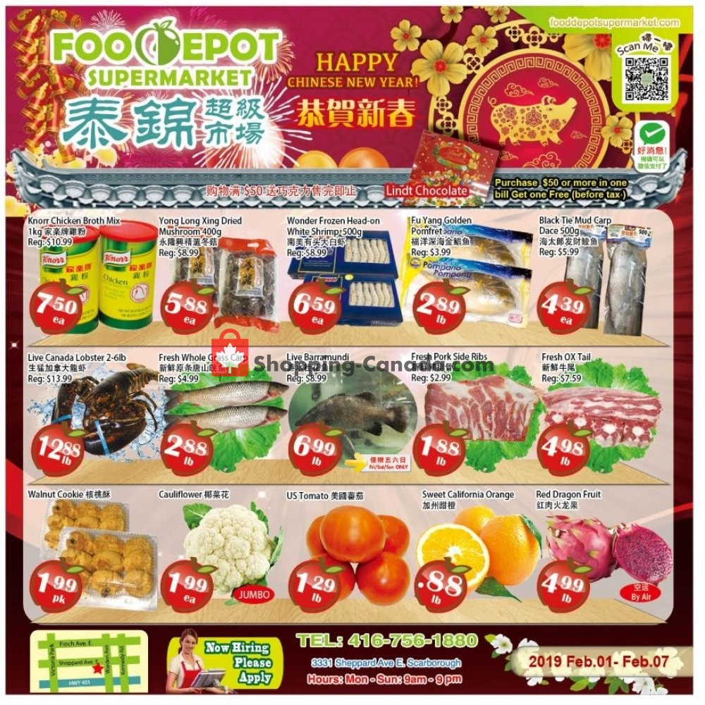 Flyer Food Depot Supermarket Canada - from Friday February 1, 2019 to Thursday February 7, 2019