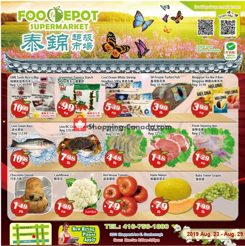 Flyer Food Depot Supermarket Canada - from Friday August 23, 2019 to Thursday August 29, 2019