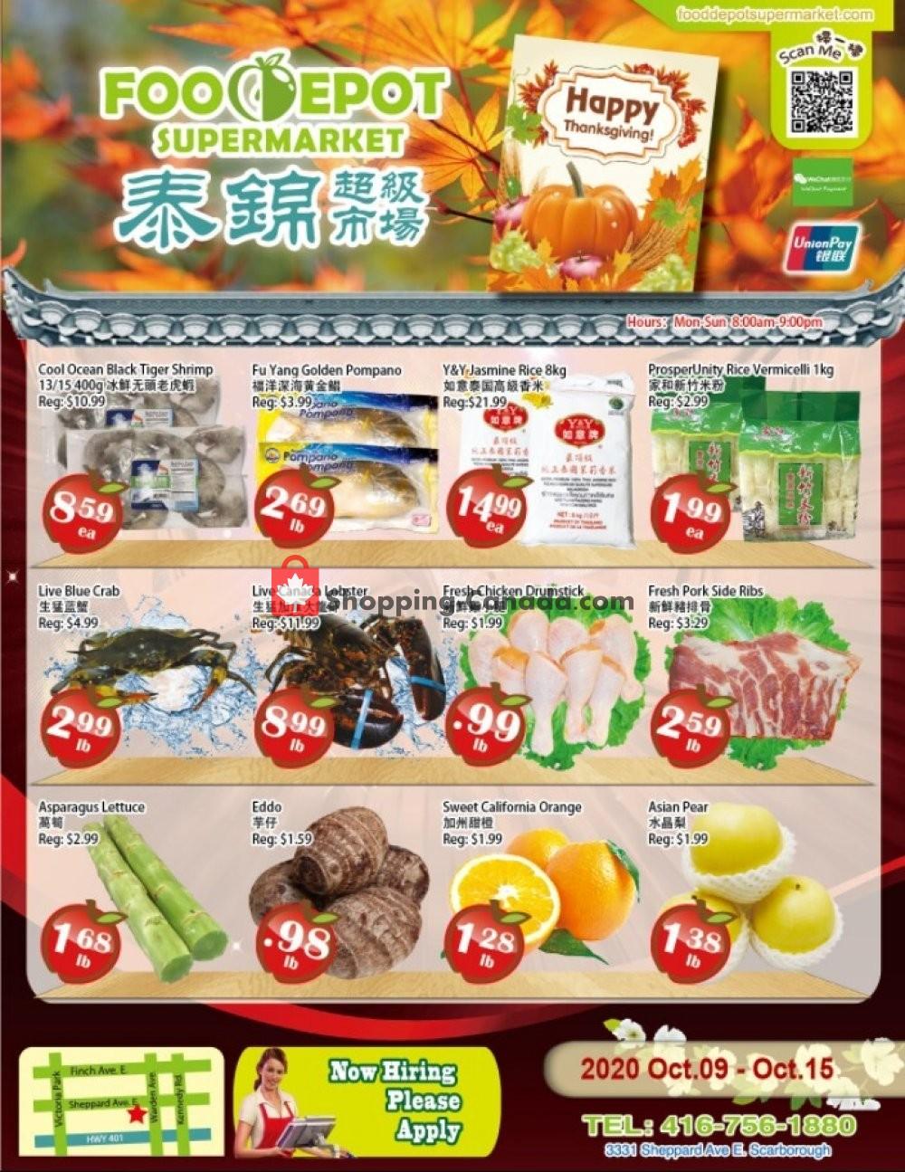 Flyer Food Depot Supermarket Canada - from Friday October 9, 2020 to Thursday October 15, 2020