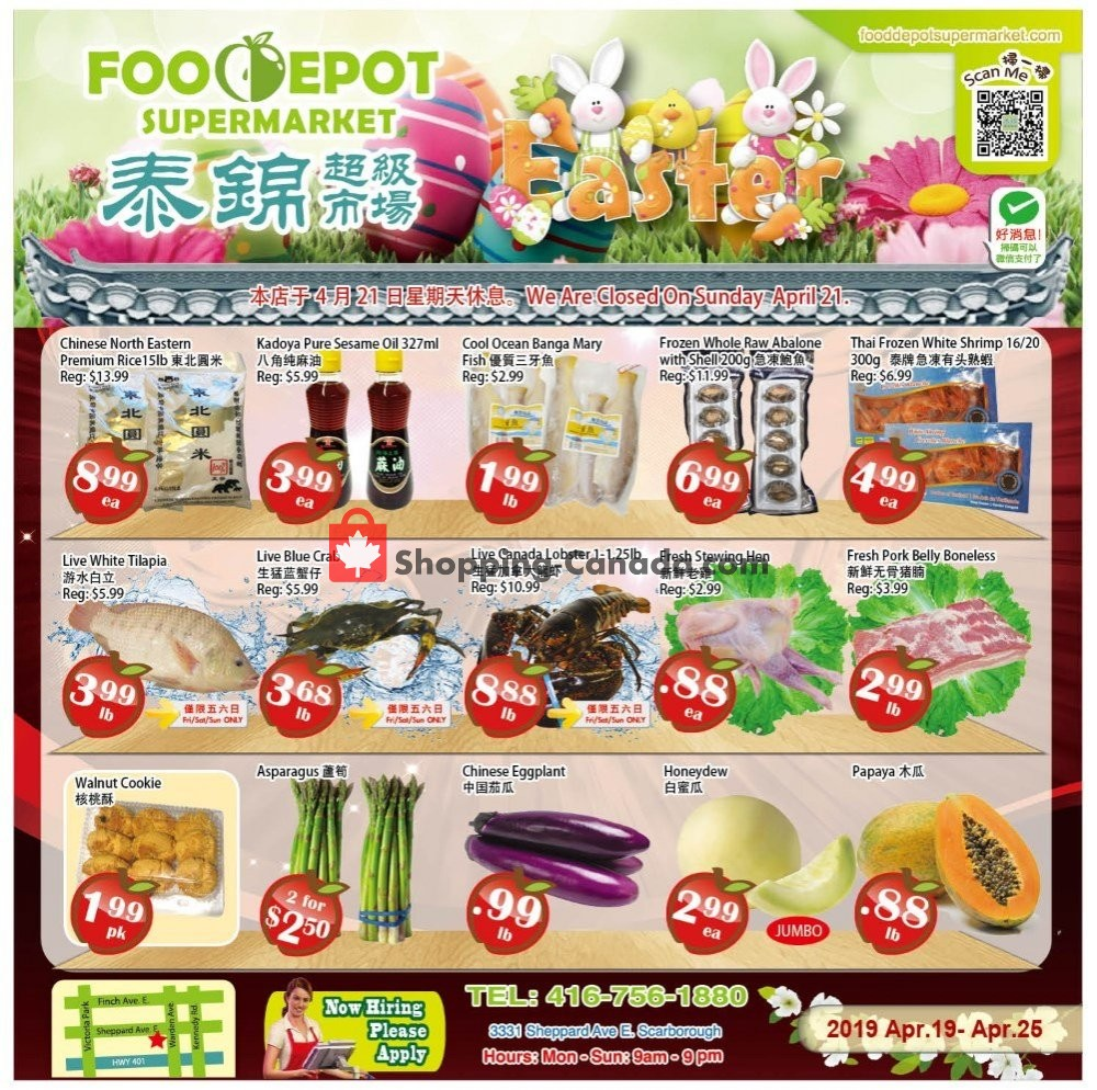 Flyer Food Depot Supermarket Canada - from Friday April 19, 2019 to Thursday April 25, 2019