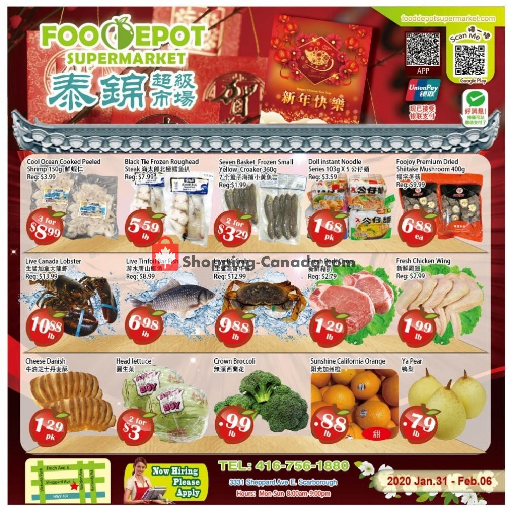 Flyer Food Depot Supermarket Canada - from Friday January 31, 2020 to Thursday February 6, 2020