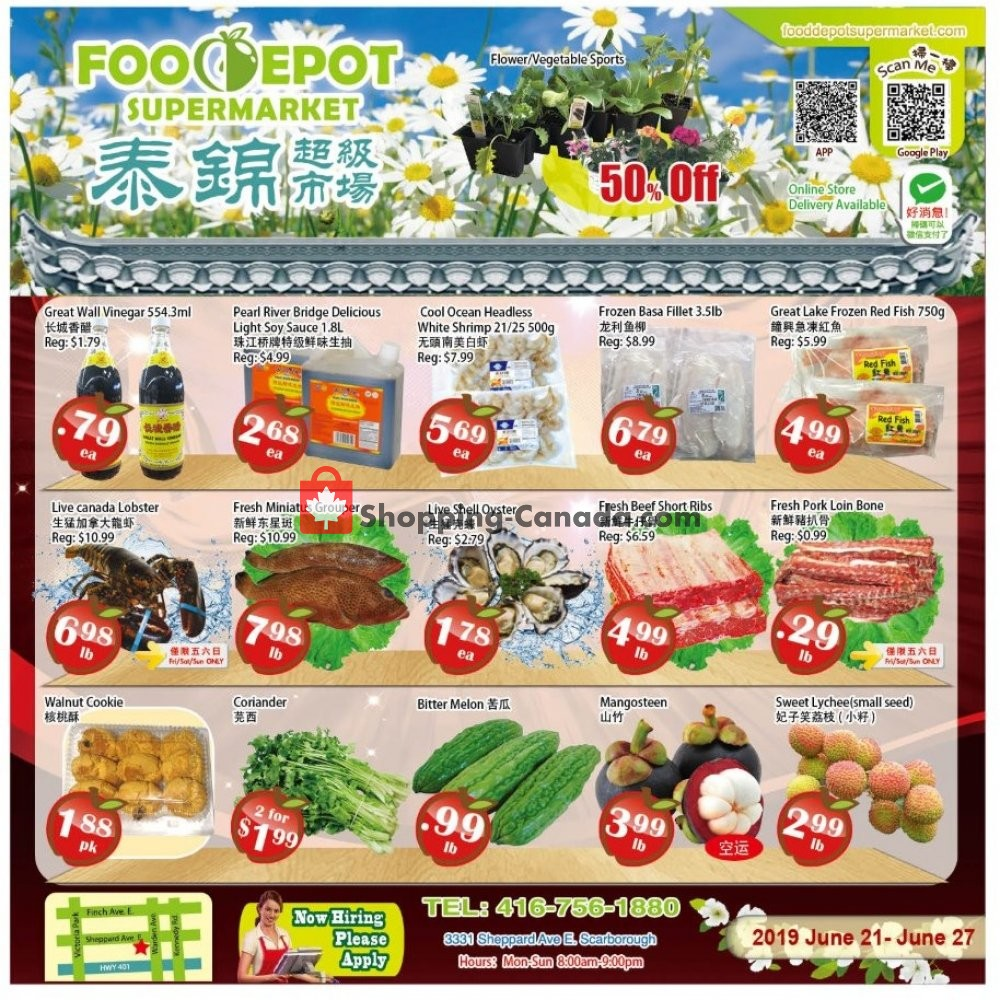 Flyer Food Depot Supermarket Canada - from Friday June 21, 2019 to Thursday June 27, 2019