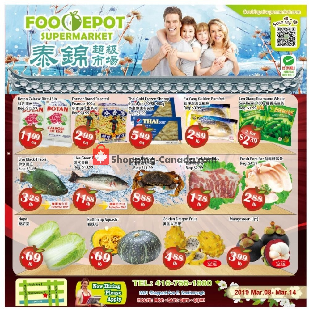 Flyer Food Depot Supermarket Canada - from Friday March 8, 2019 to Thursday March 14, 2019