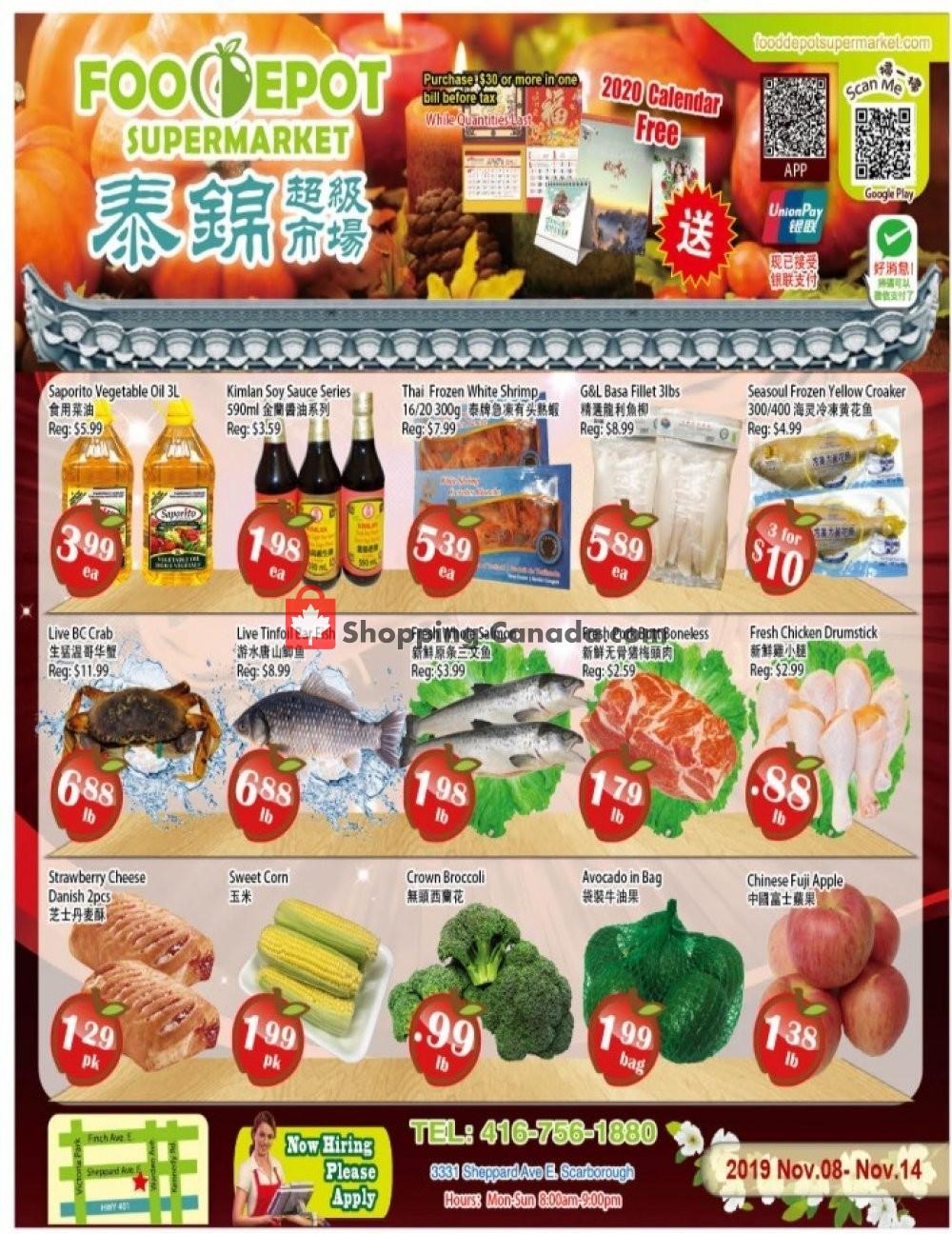 Flyer Food Depot Supermarket Canada - from Friday November 8, 2019 to Thursday November 14, 2019