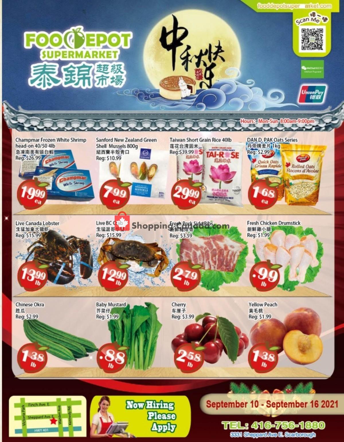Flyer Food Depot Supermarket Canada - from Friday September 10, 2021 to Thursday September 16, 2021