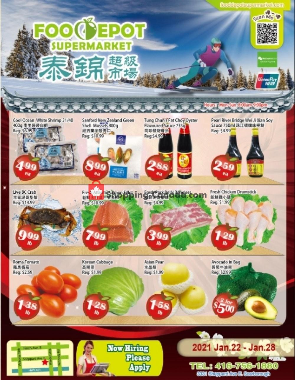 Flyer Food Depot Supermarket Canada - from Friday January 22, 2021 to Thursday January 28, 2021
