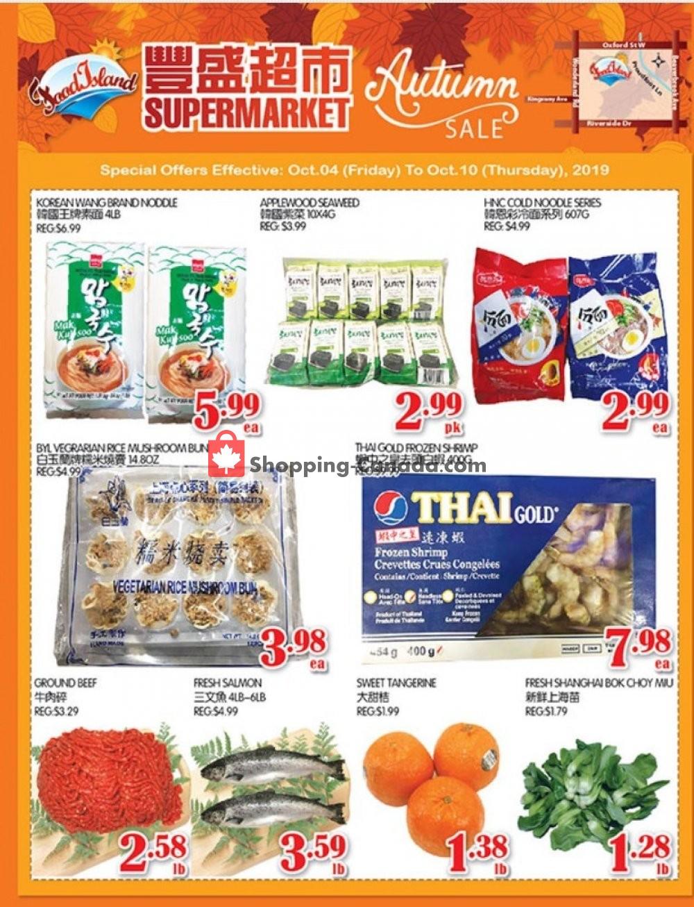 Flyer Food Island Supermarket Canada - from Friday October 4, 2019 to Thursday October 10, 2019