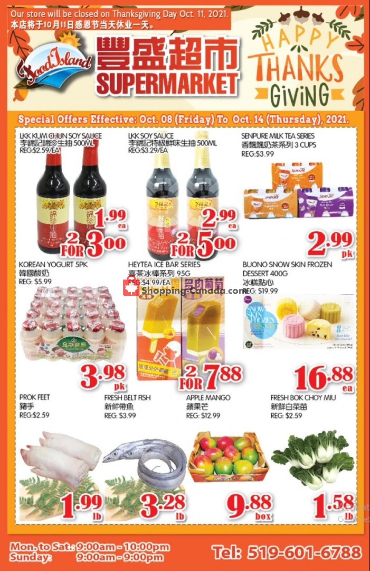 Flyer Food Island Supermarket Canada - from Friday October 8, 2021 to Thursday October 14, 2021