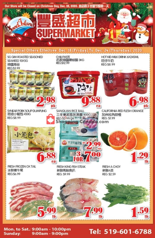 Flyer Food Island Supermarket Canada - from Friday December 18, 2020 to Thursday December 24, 2020