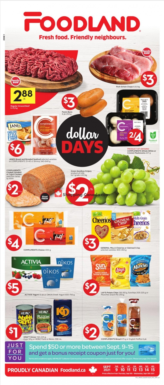 Flyer Foodland Canada - from Thursday September 9, 2021 to Wednesday September 15, 2021
