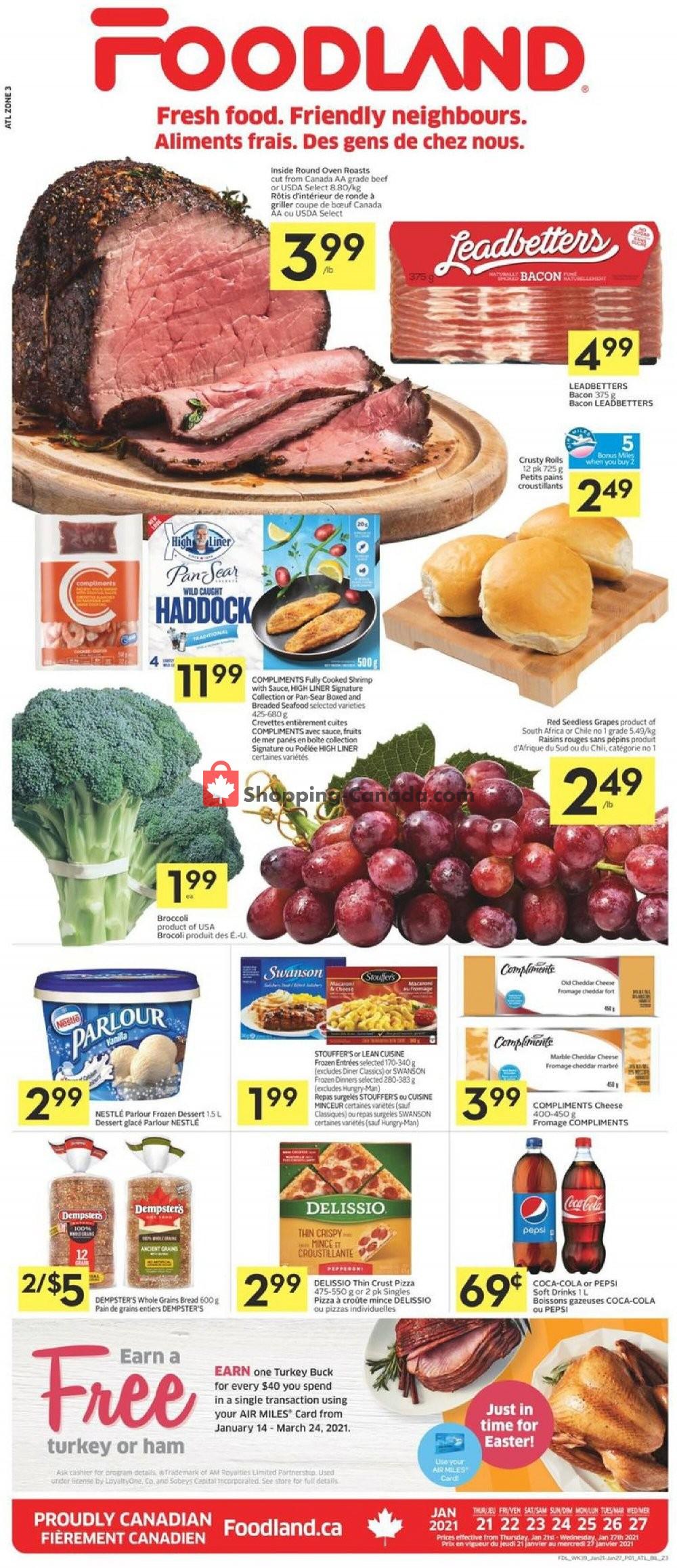 Flyer Foodland Canada - from Thursday January 21, 2021 to Wednesday January 27, 2021