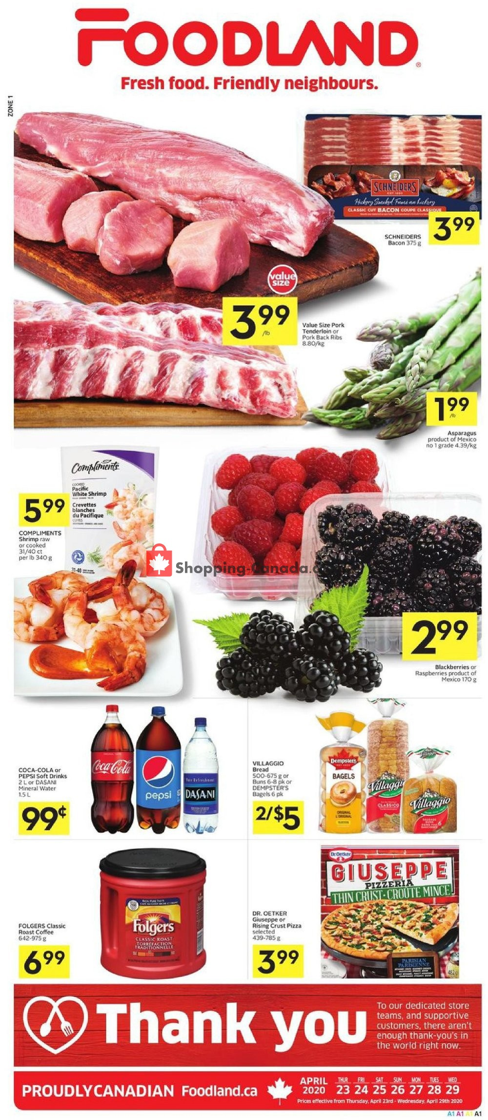 Flyer Foodland Canada - from Thursday April 23, 2020 to Wednesday April 29, 2020