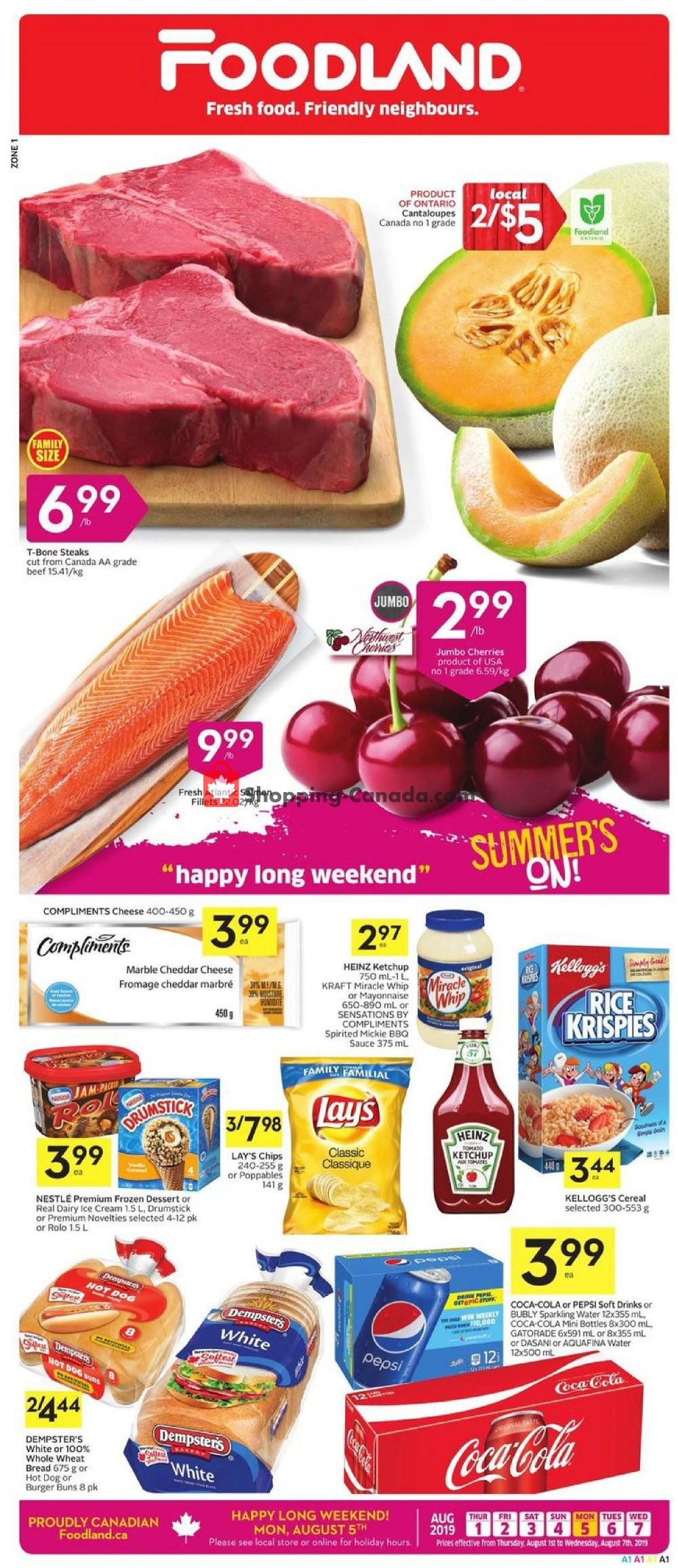 Flyer Foodland Canada - from Thursday August 1, 2019 to Wednesday August 7, 2019