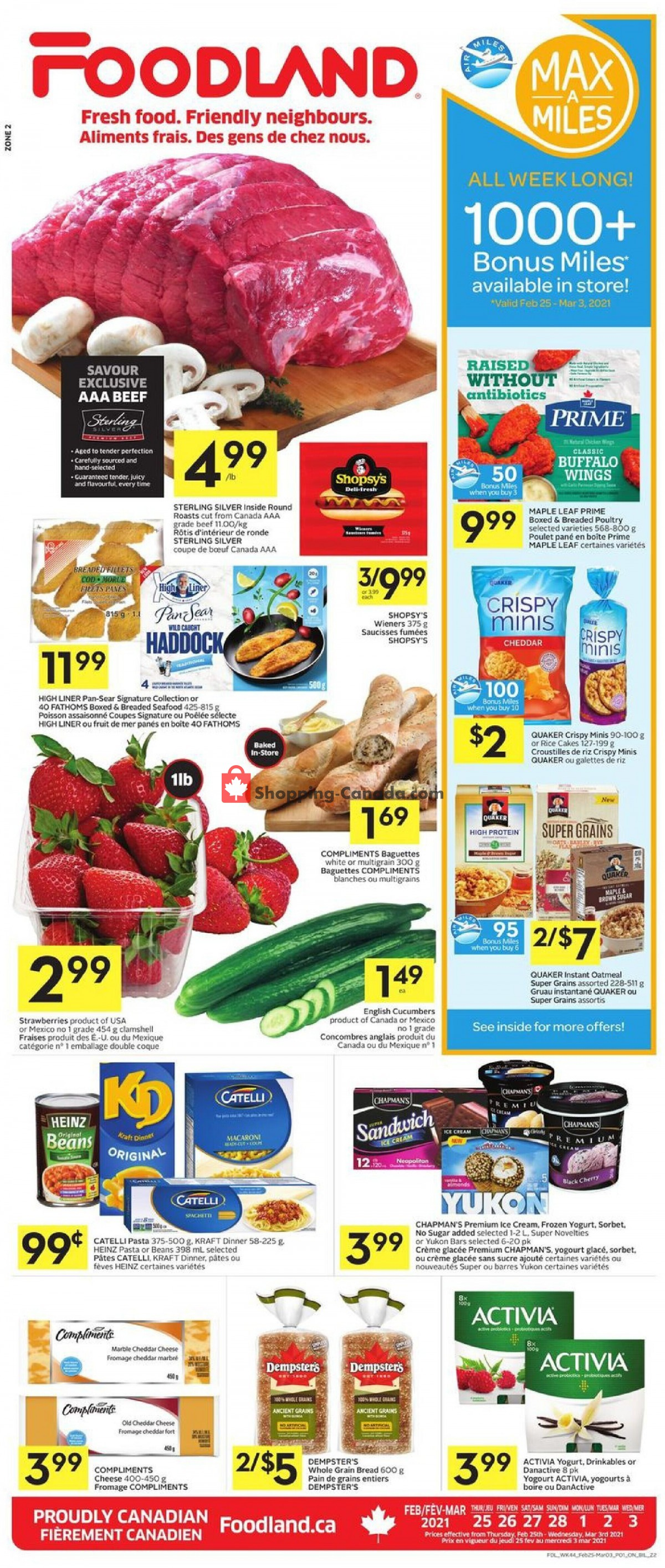 Flyer Foodland Canada - from Thursday February 25, 2021 to Wednesday March 3, 2021
