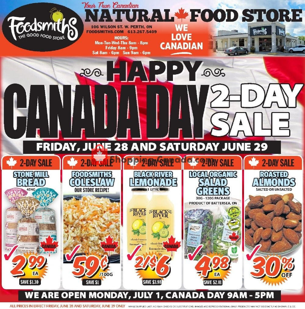 Flyer Foodsmiths Canada - from Thursday June 27, 2019 to Thursday July 4, 2019