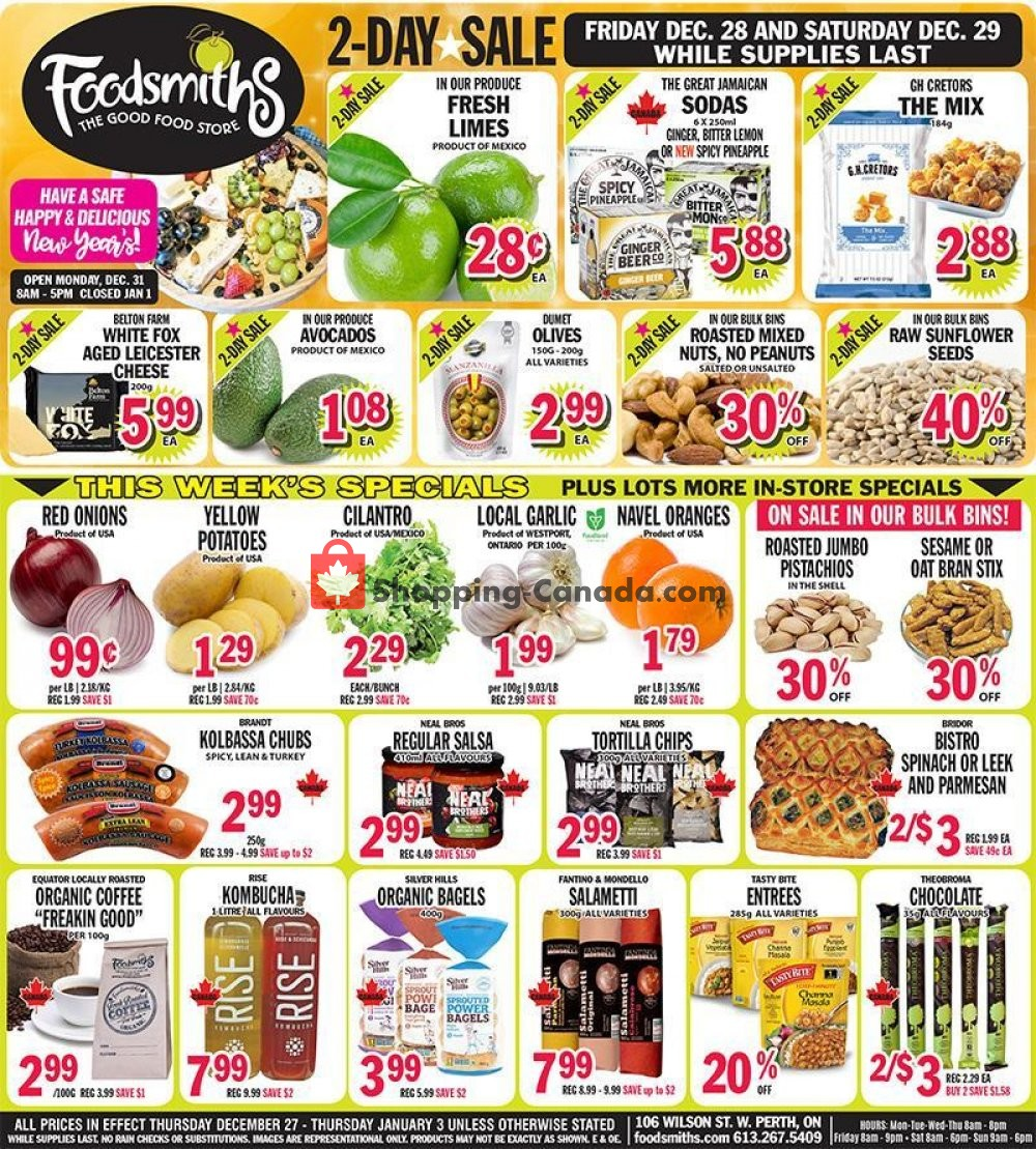 Flyer Foodsmiths Canada - from Thursday December 27, 2018 to Thursday January 3, 2019