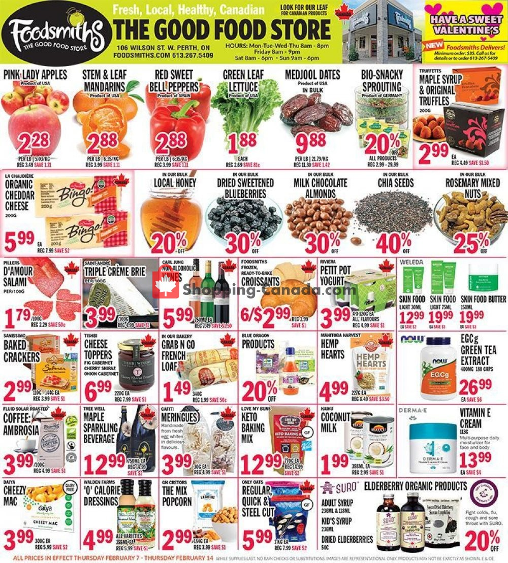 Flyer Foodsmiths Canada - from Thursday February 7, 2019 to Thursday February 14, 2019