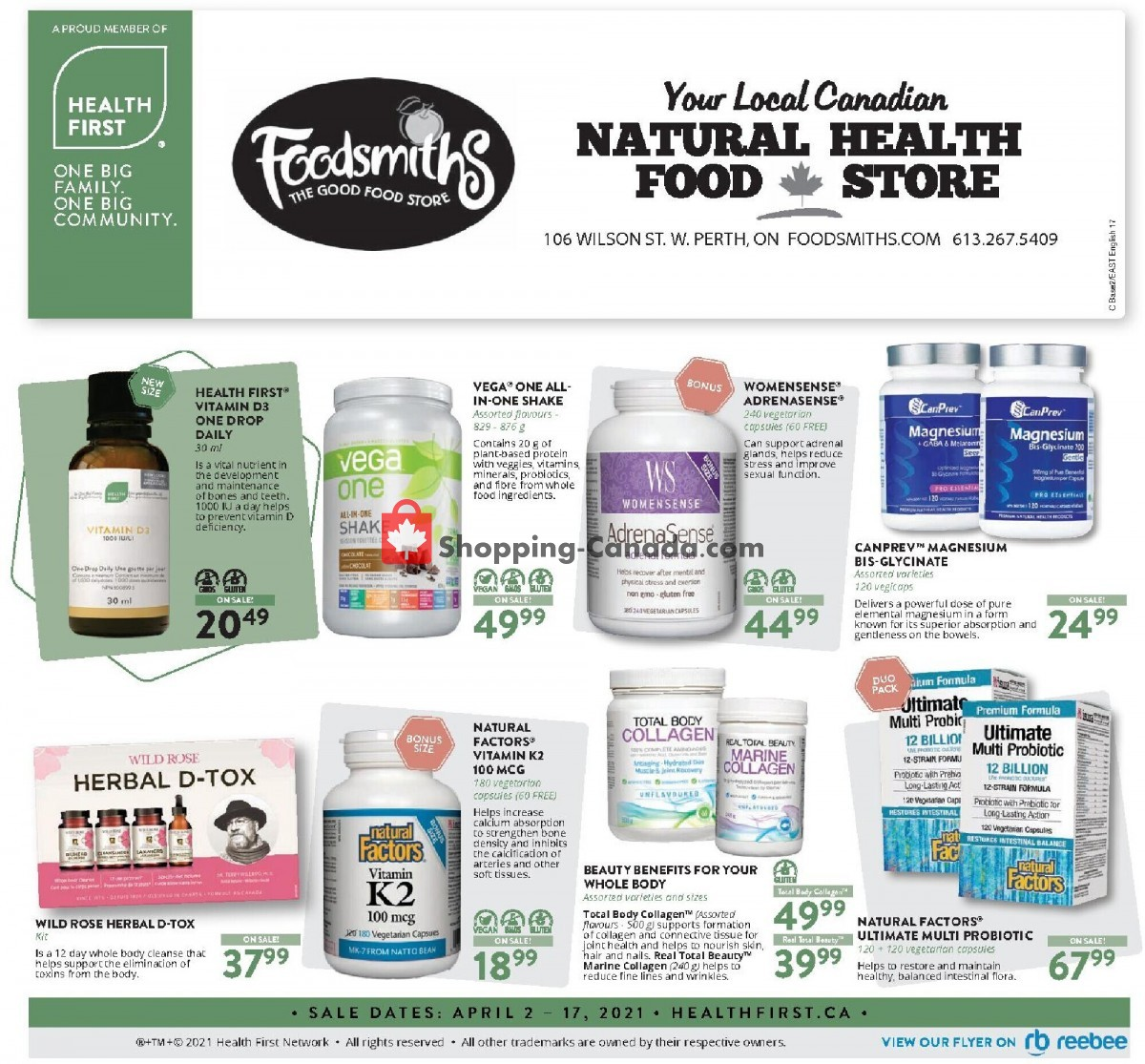 Flyer Foodsmiths Canada - from Friday April 2, 2021 to Saturday April 17, 2021