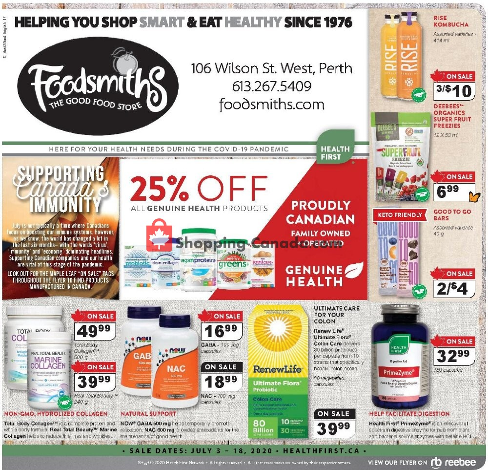 Flyer Foodsmiths Canada - from Friday July 3, 2020 to Saturday July 18, 2020